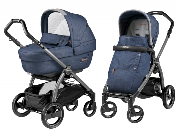 Коляска 2 в 1 Peg Perego Book S Elite Modular System (прогулочный блок Pop-Up Completo) Urban Denim
