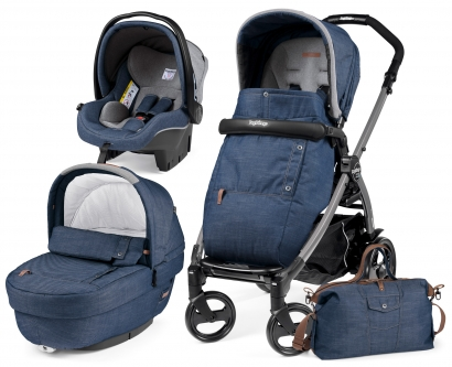 Коляска 3 в 1 Peg Perego Book S Urban Denim (шасси White/Black)